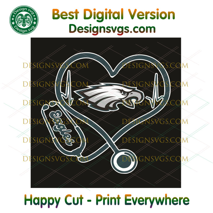 Philadelphia Eagles Heart Stethoscope Svg, Sport Svg, Philadelphia Eagles,