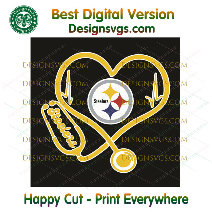 Pittsburgh Steelers Heart Stethoscope Svg, Sport Svg, Pittsburgh Steelers,