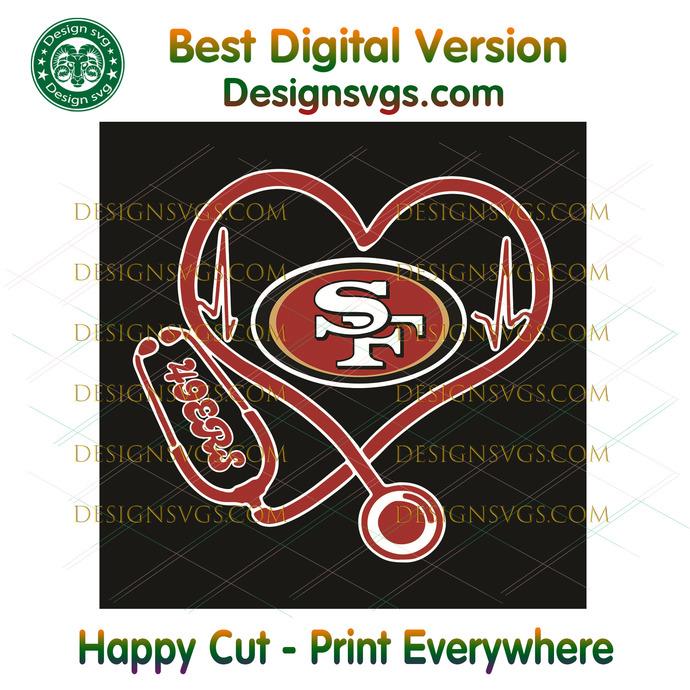 San Francisco 49ers Heart Stethoscope Svg, Sport Svg, San Francisco 49ers, 49ers