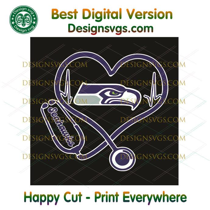 Seattle Seahawks Heart Stethoscope Svg, Sport Svg, Seattle Seahawks, Seahawks