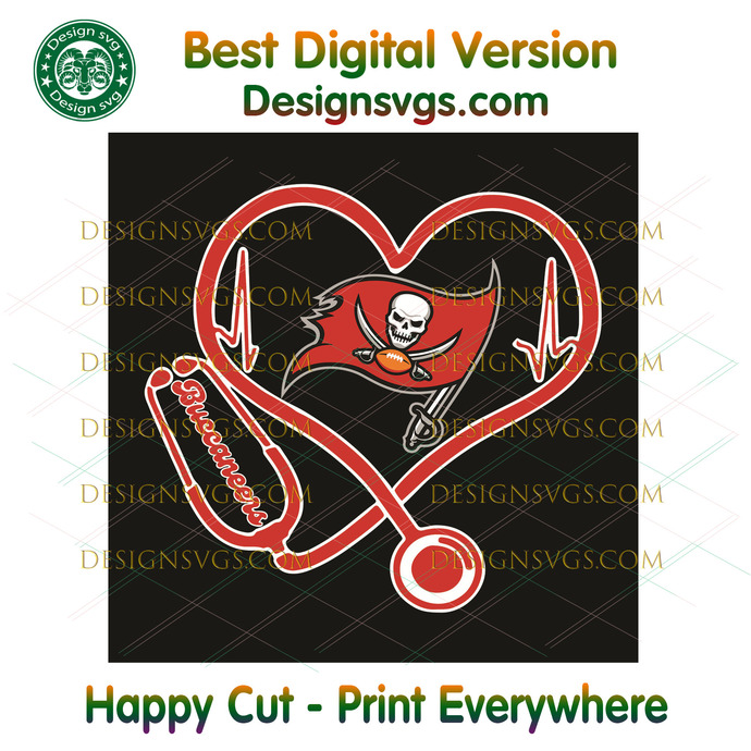 Tampa Bay Buccaneers Heart Stethoscope Svg, Sport Svg, Tampa Bay Buccaneers,