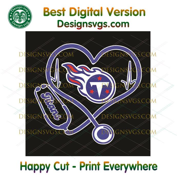 Tennessee Titans Heart Stethoscope Svg, Sport Svg, Tennessee Titans, Titans Svg,