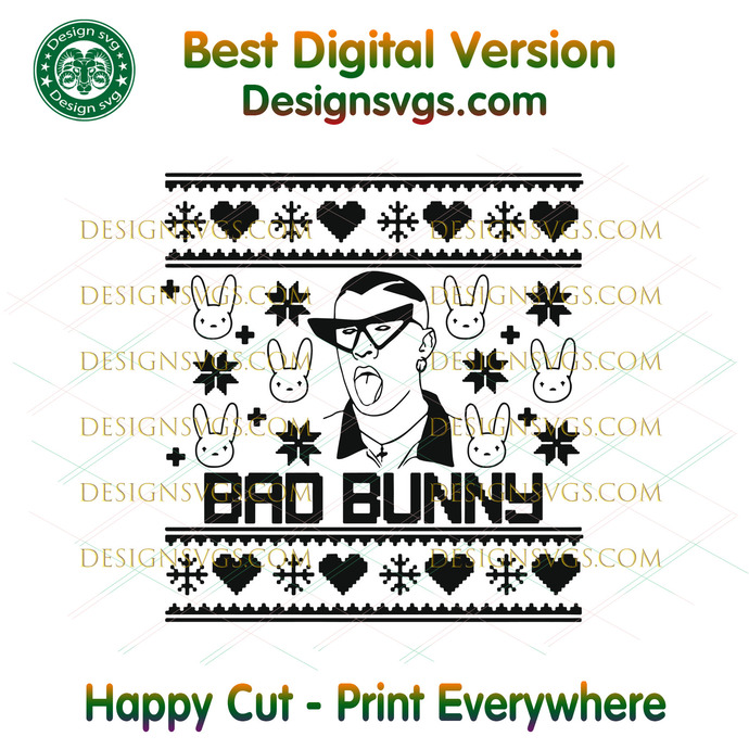 Bad Bunny Christmas Sweater Svg, Trending Svg, Conejo Malo Svg, Play Boy Svg,