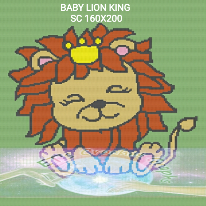 Baby Lion King SC 160x200 includes graph with color block instructions