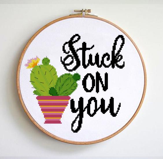 Stuck on You Funny Cross Stitch Pattern Valentine's Day Cross Stitch Pattern