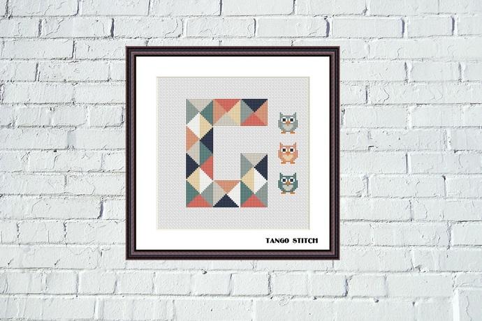 Letter G and three cute owls geometric nursery cross stitch pattern