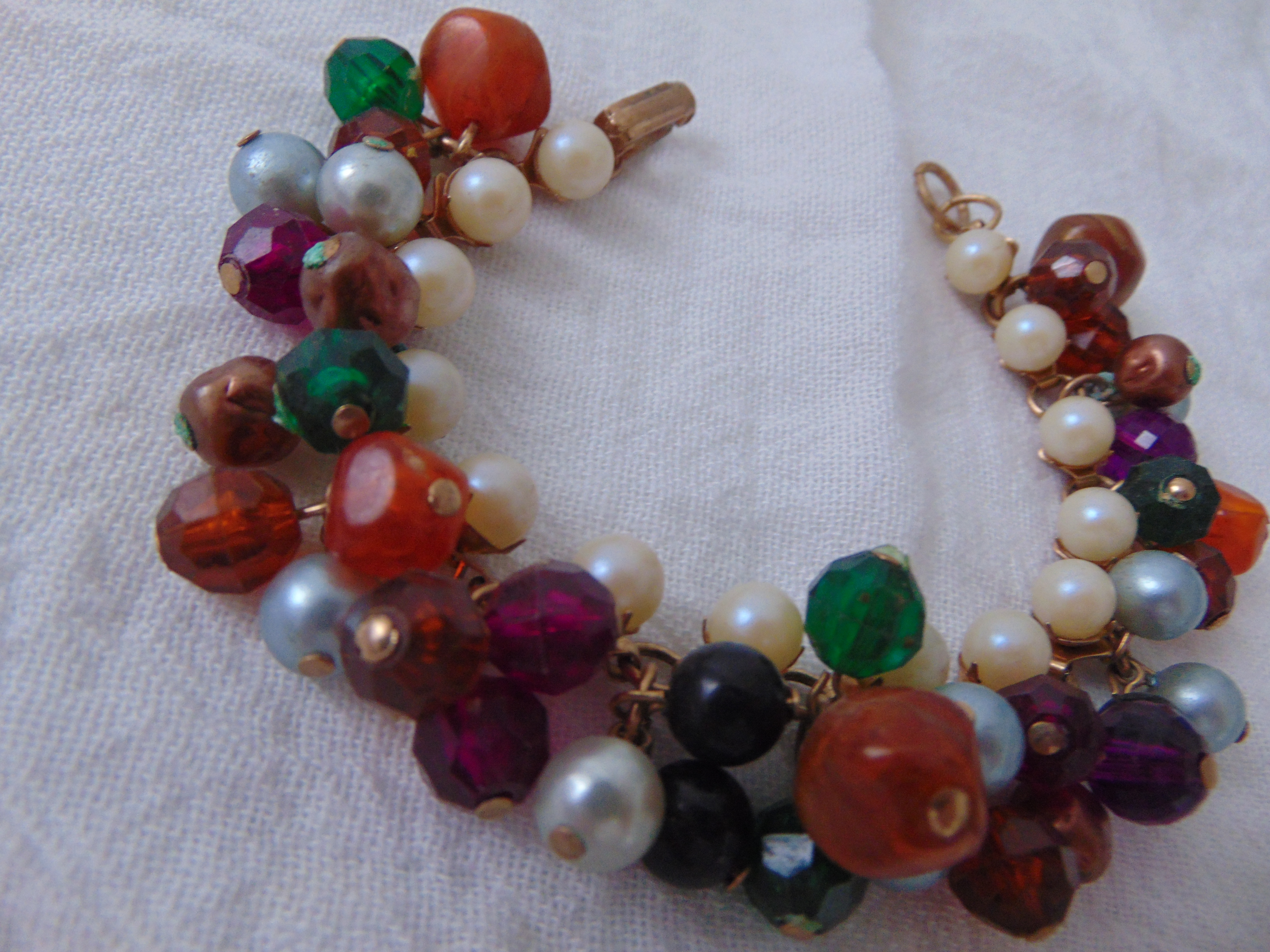 vintage pearls colorful beads cha cha bracelet