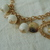 vintage white lucite beads pearl dangle heart gold monogram discs cha cha