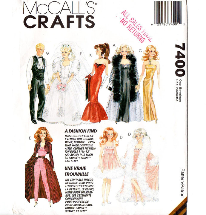 McCall's 7400 Barbie, Ken Formal Doll Clothes 90s Vintage Sewing Pattern Uncut