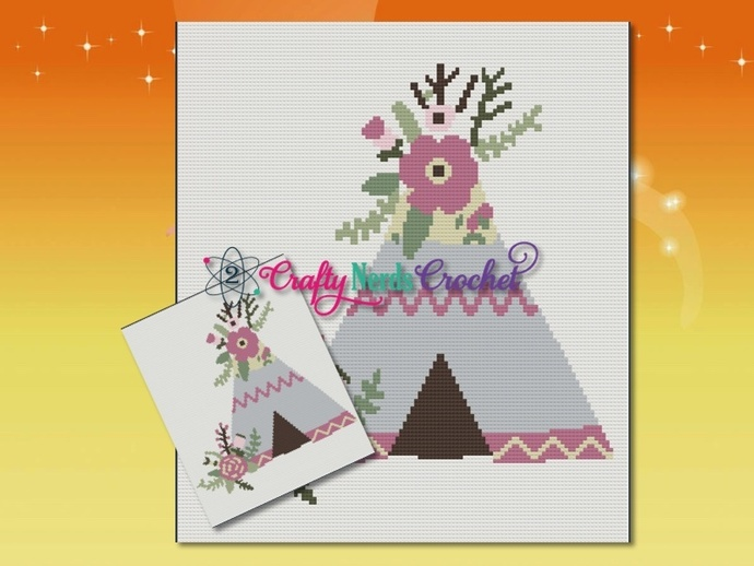 Floral Teepee Pattern Graph With Single Crochet Written