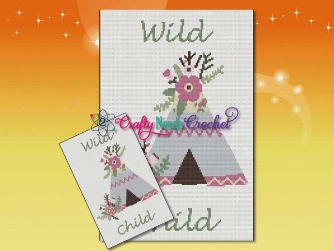 Wild Child Teepee Pattern Graph With Single Crochet Written