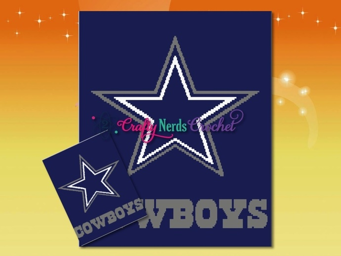 Dallas Cowboys Pattern Graph With Double Crochet Written