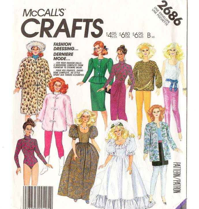 McCall's 2686 Barbie Fashion Doll Clothes 80s Vintage Sewing Pattern Gown, Wrap