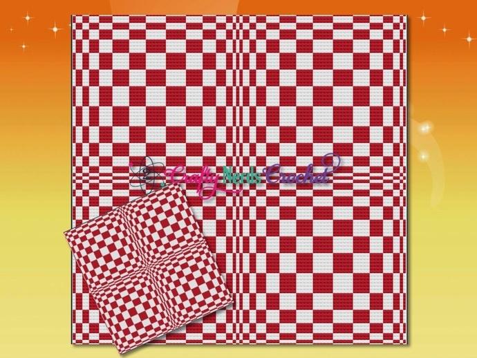 Checkerboard Illusion Pattern Graph With Mini C2C Crochet Written