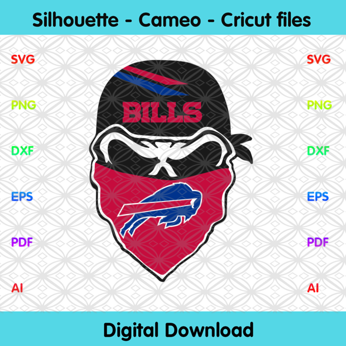 Buffalo Bills Skull Svg, Sport Svg, Football Svg, Football Teams Svg, NFL Svg,