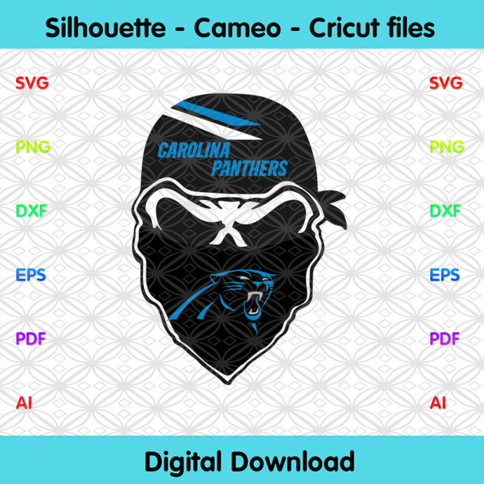 Carolina Panthers Skull Svg, Sport Svg, Football Svg, Football Teams Svg, NFL