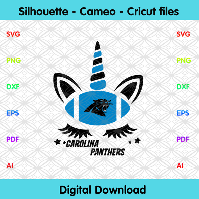 Carolina Panthers Unicorn Svg, Sport Svg, Football Svg, Football Teams Svg, NFL