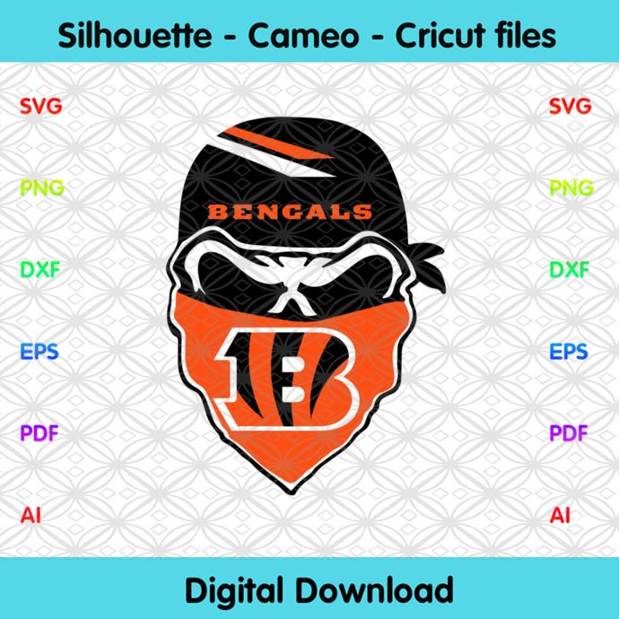 Cincinnati Bengals Skull Svg, Sport Svg, Football Svg, Football Teams Svg, NFL