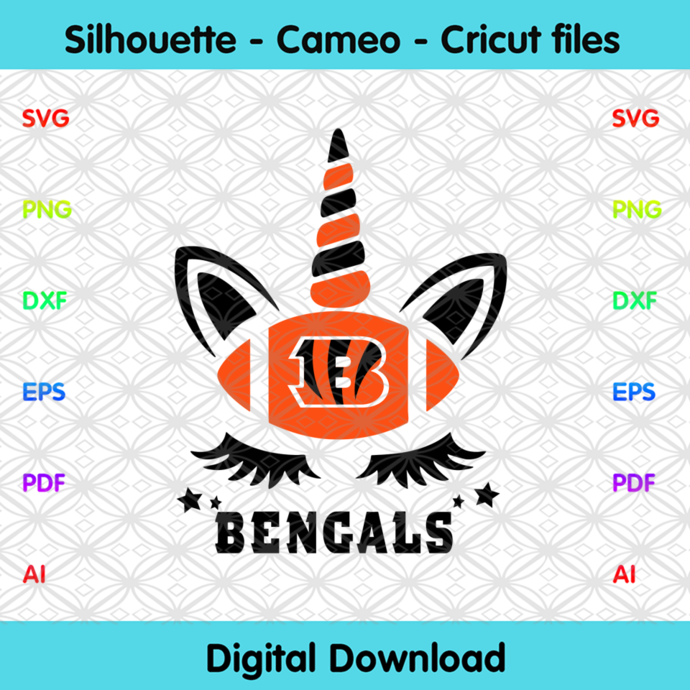 Cincinnati Bengals Unicorn Svg, Sport Svg, Football Svg, Football Teams Svg, NFL