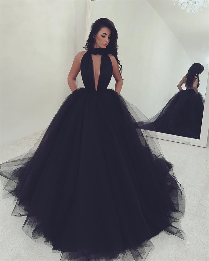 Sexy Black Halter Tulle Black Ball Gown Evening Dress, Black Prom Dress