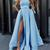 Light Blue Satin Slit Long Simple Prom Dress, Blue Evening Dress, Floor Length