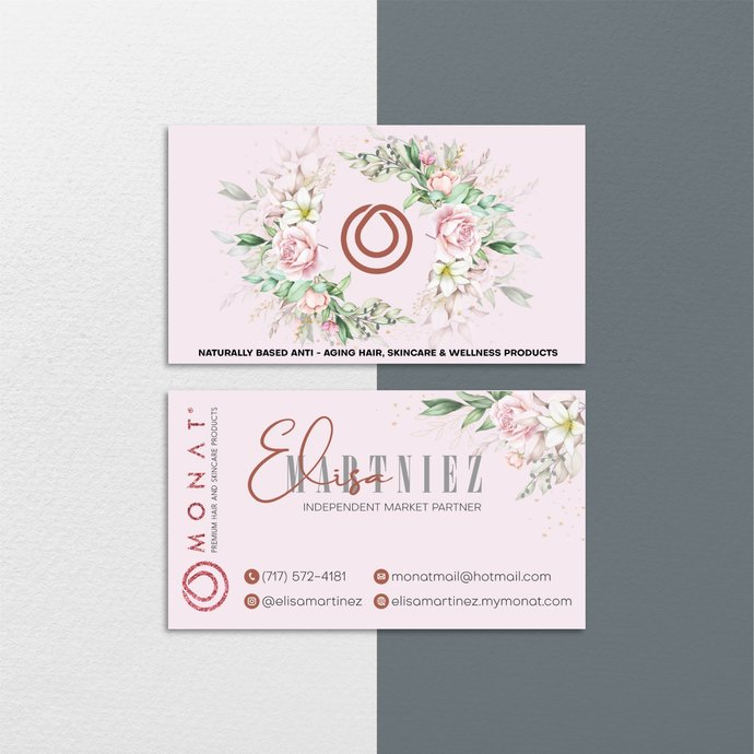 Floral Custom Monat Business Cards, Floral Monat Business Cards, Monat Care