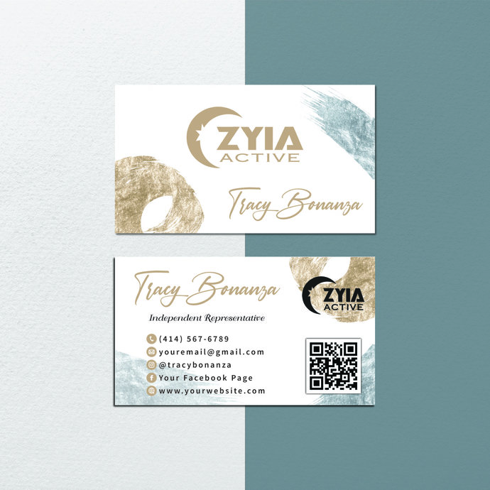 Vintage Personalized Zyia Active Business Cards, Zyia Active Digital file card,