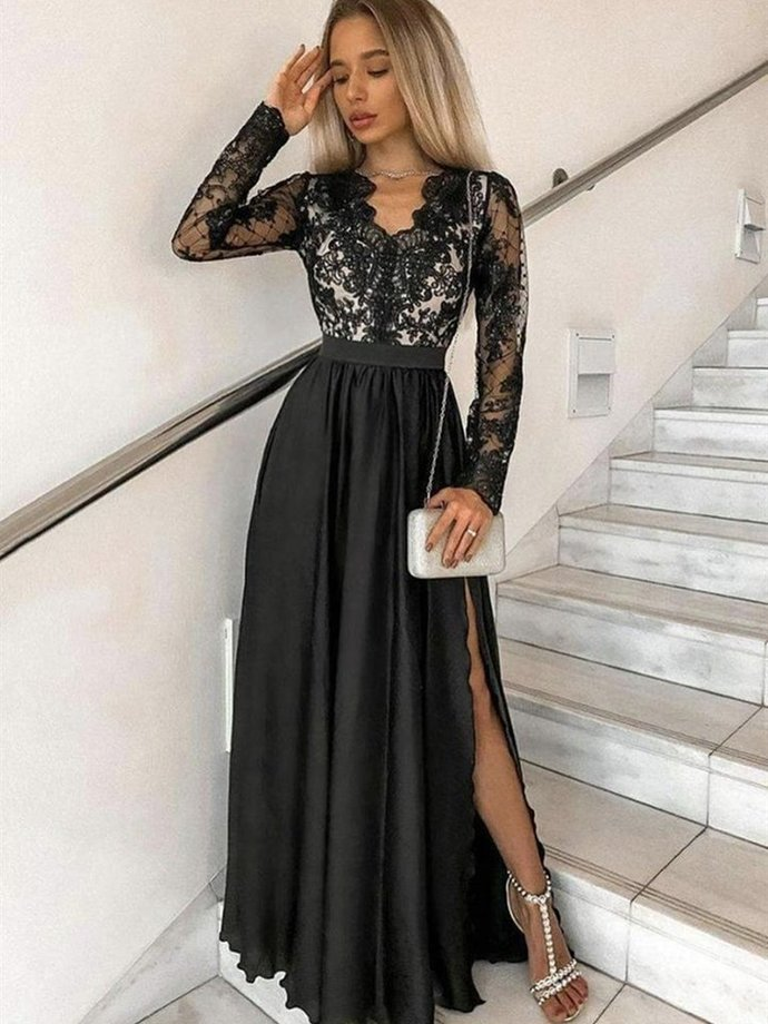 Black Chiffon V Neck  Long Prom Dresses with High Slit, Long Sleeves Party Dress