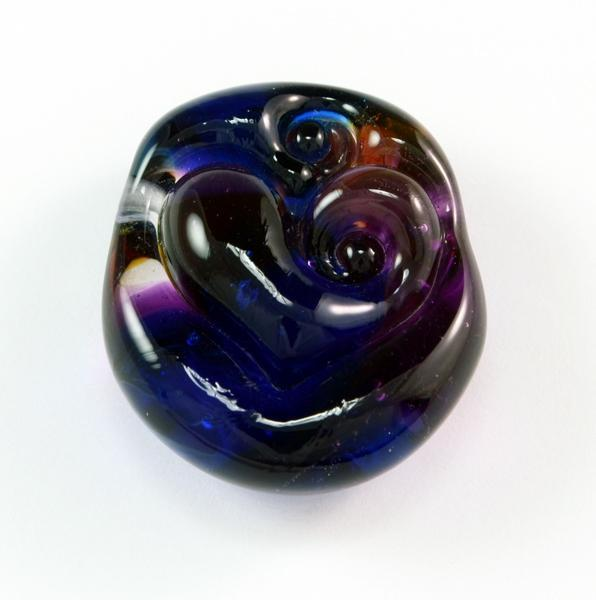 Handmade Multicolor Heart Lampwork Recycled Art Glass Focal Bead SRA