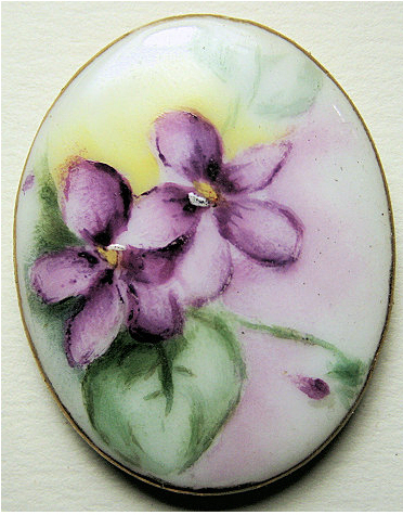 """Porcelain Hand Painted Floral """"BUTTON"""""""