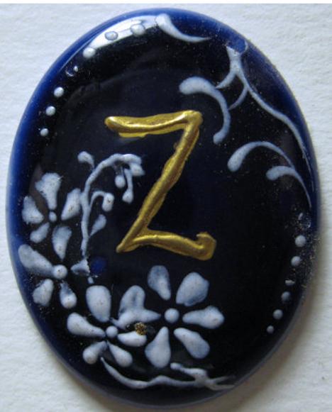 """Old Cobalt Blue coloring Porcelain Stud Initial """"Z"""""""