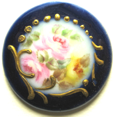 Hand Painted Porcelain Stud, Cobalt Edge and Roses in Center