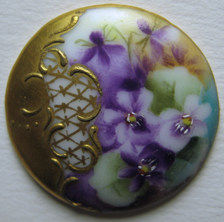 Hand Painted Porcelain Stud lots gold paint detail, NBS Medium