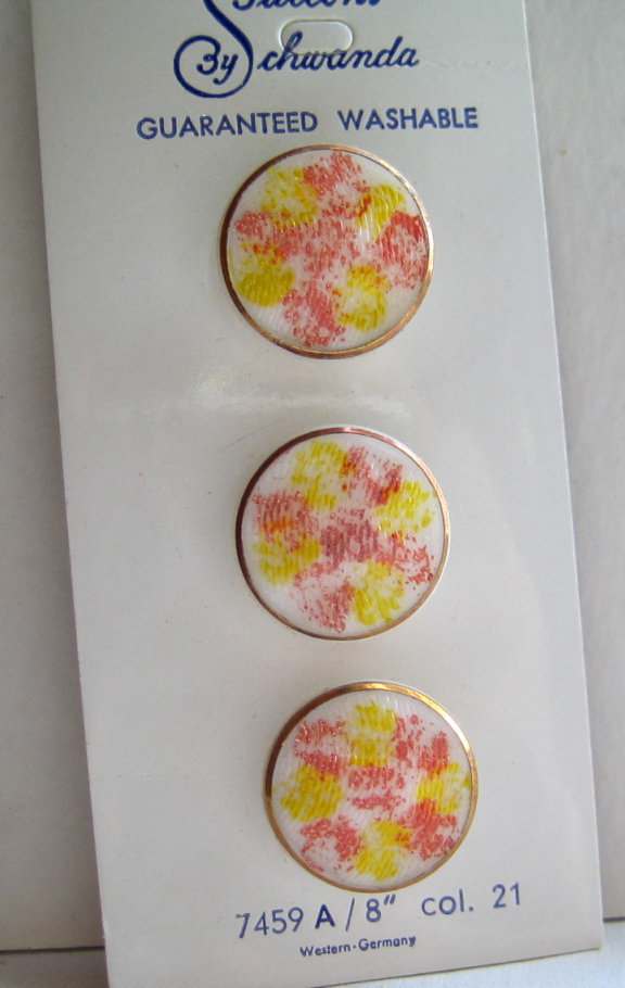 White Glass Buttons with Orange/Yellow Splatter Pattern