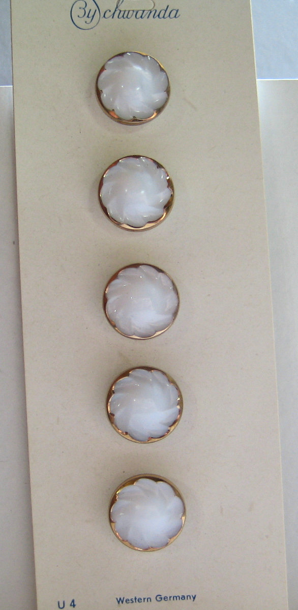 """White Glass Buttons with Molded top and  Gold Luster Rim 1/2"""" Size"""
