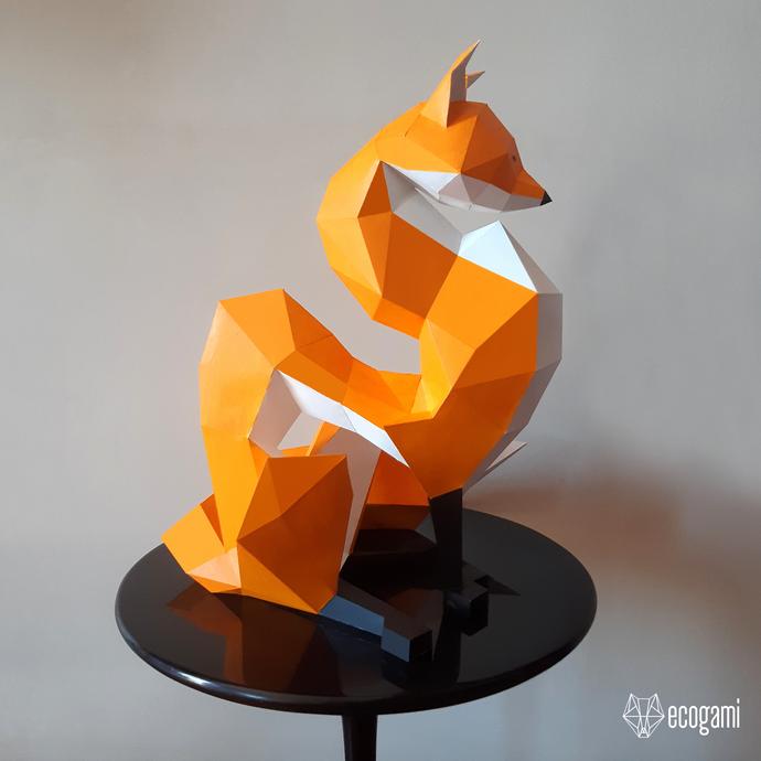 Fox papercraft sculpture, printable 3D puzzle, papercraft Pdf template to make