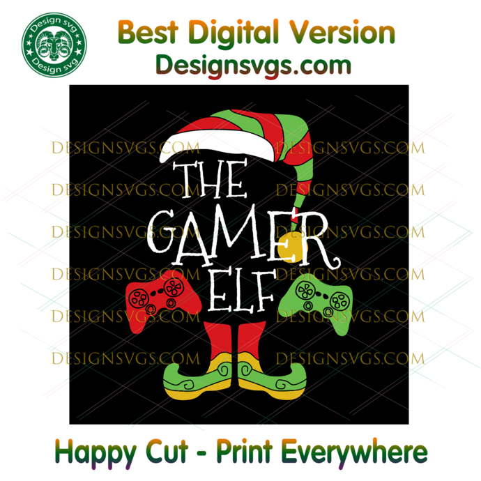 The Gamer Elf Game Controller Svg, Christmas Svg, Xmas Svg, Christmas Gift,
