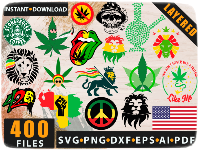 Rasta SVG bundle, weed SVG bundle, Cannabis SVG bundle