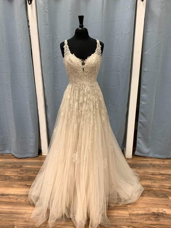 Light Champagne Tulle V-neckline Lace Long Prom Dress, Elegant Floor Length