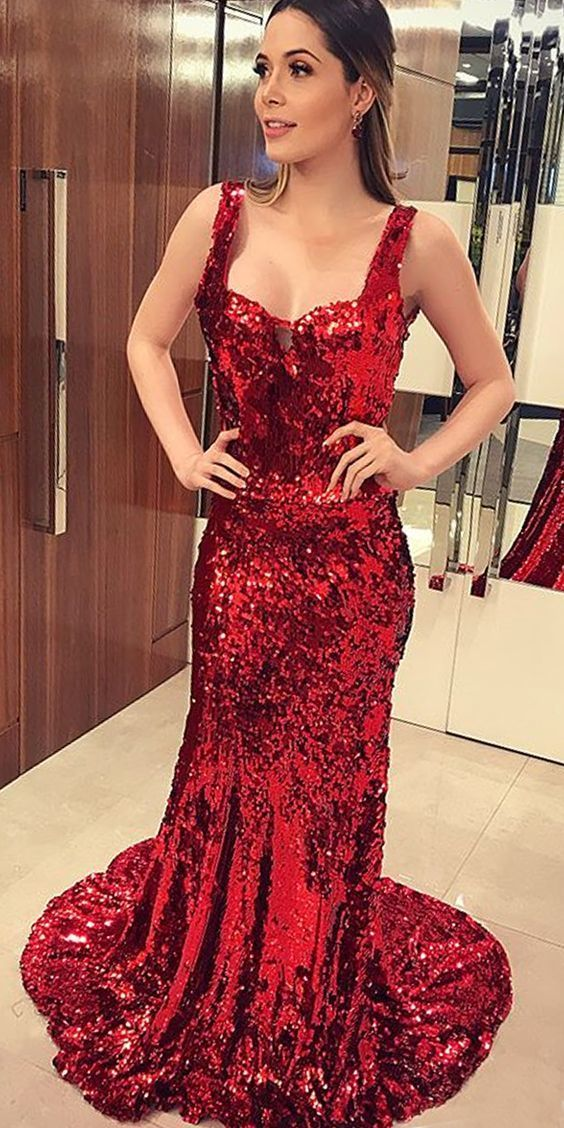 Sparkly Red Sequin Mermaid Sexy Backless Prom Dresses M8817