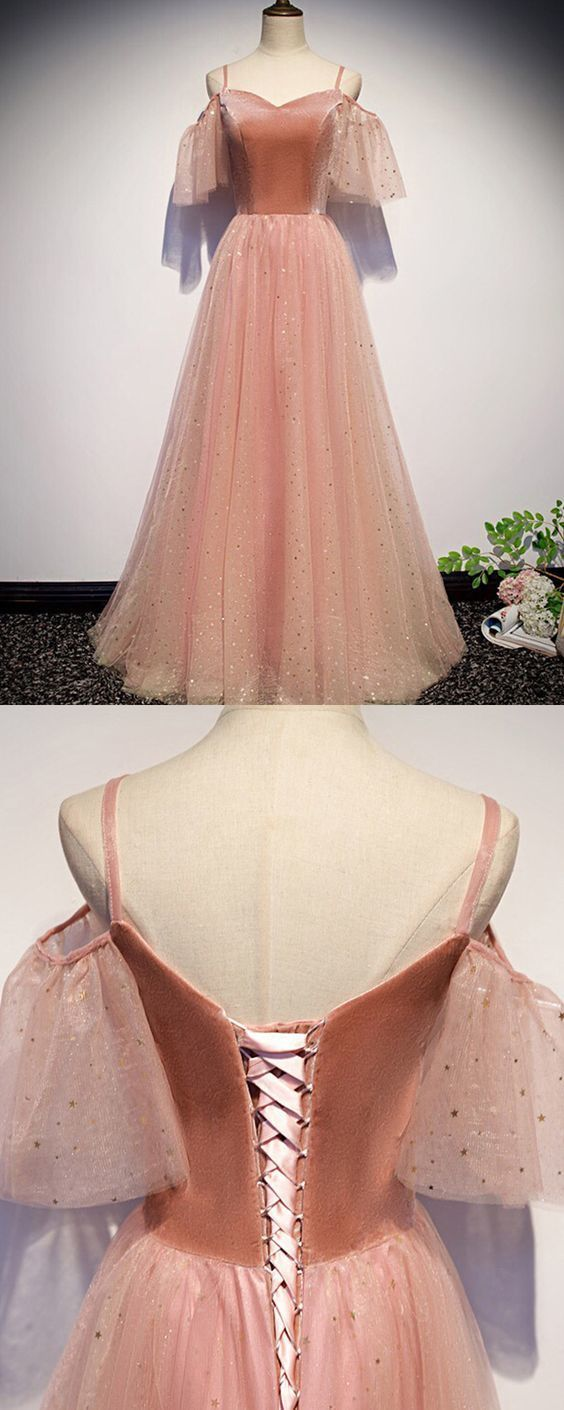 Cold Shoulder Peach Pink Sparkle Tulle Pleated Prom Dress M8820