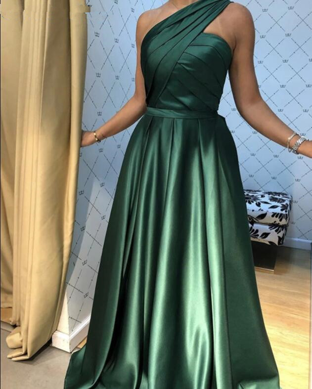 Green One Shoulder Satin Long Party Dress, Green Simple Formal Dress, Evening