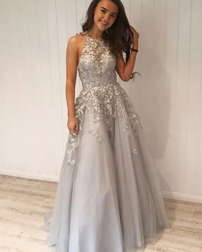 Sexy Appliques O-Neck A-Line Prom Dresses,Long Prom Dresses,Cheap Prom Dresses,