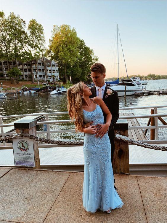Sky blue lace mermaid prom dresses,applique cross back evening gown M8823