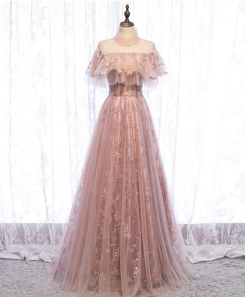 Pink Tulle Prom Dress , Chamring Prom Dress M8825