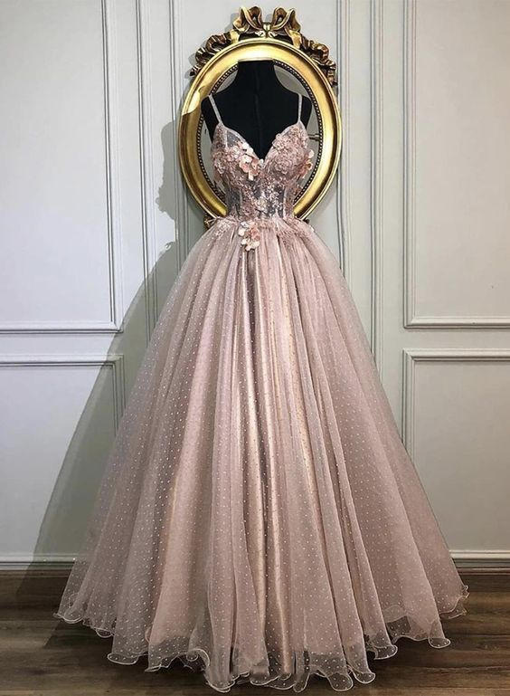 Pink tulle lace long prom dress evening dress M8827