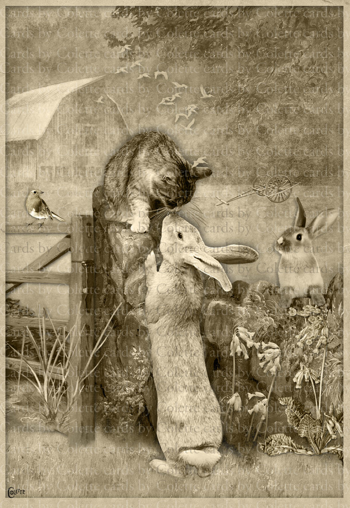 Cat and Bunny Kiss Digital Collage Greeting Card3166