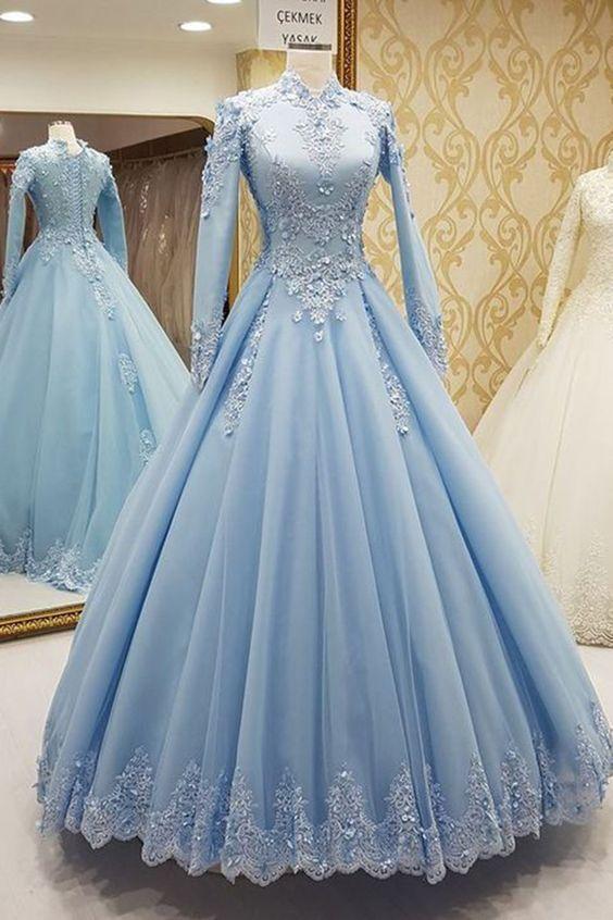 Blue prom dresses, high neck prom dresses, long sleeve prom dresses, lace prom
