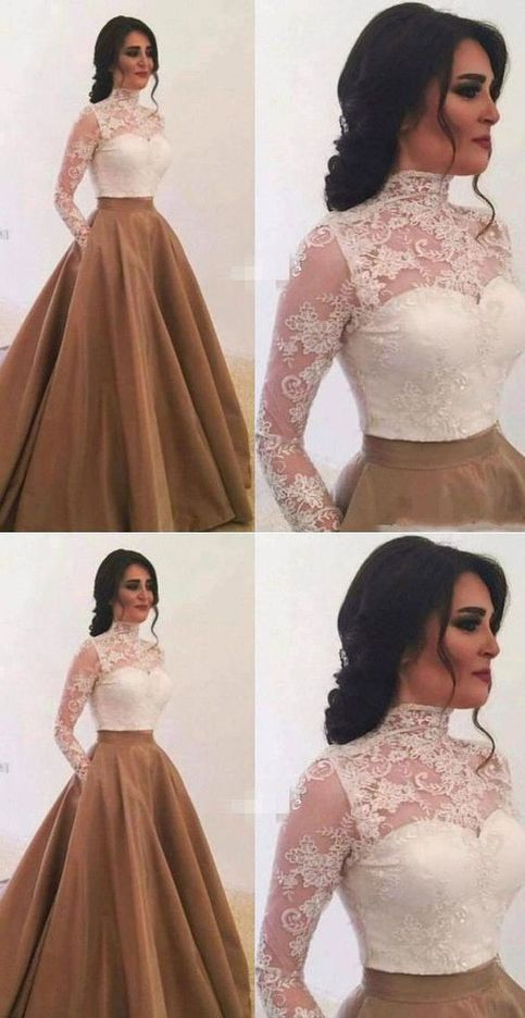 Two Piece Long Prom Dresses with Pockets M8832