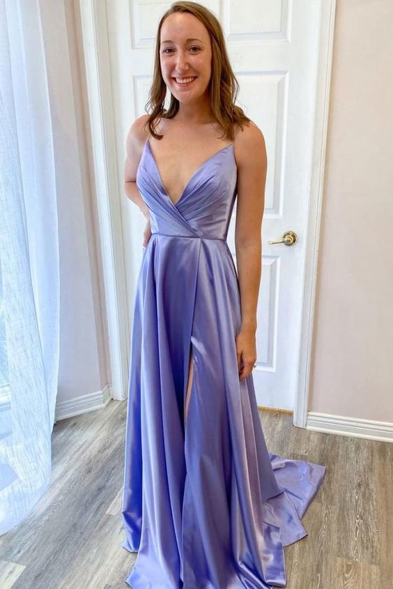 Simple v neck purple satin long prom dress purple evening dress M8834